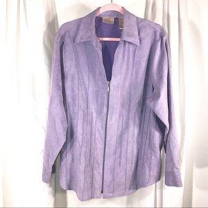 Vintage Faux Suede Zip Up Blazer, Size 1X